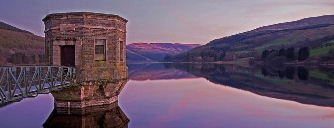 Talybont Reservoir as the sun sets