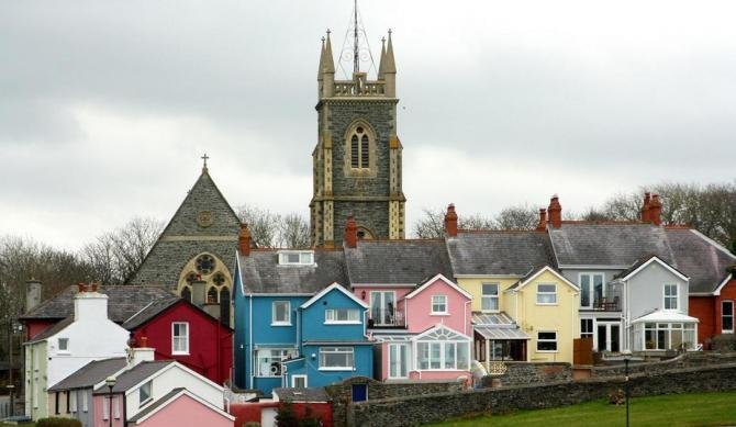 Church and houses in Aberaeron