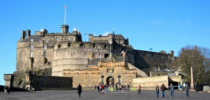 Edinburgh Castle with blue skies