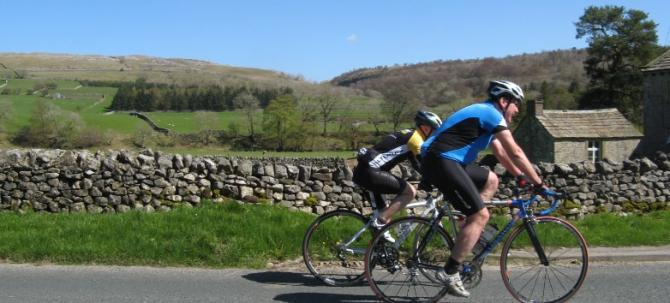 Cycling in the Yorkshire Dales near Kilnsey