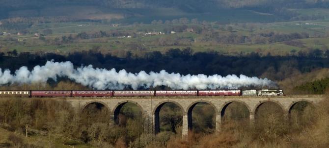 Scots Guardsman Crossing the Smardale Viaduct, Settle-Carlisle Railway
