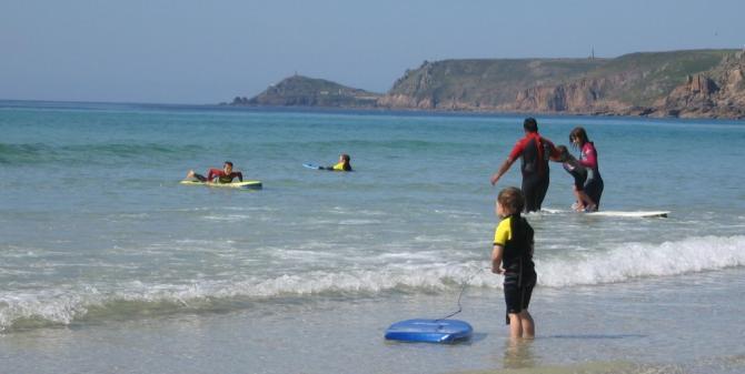 Gentle Family Surfing - Sennen Cove Beach