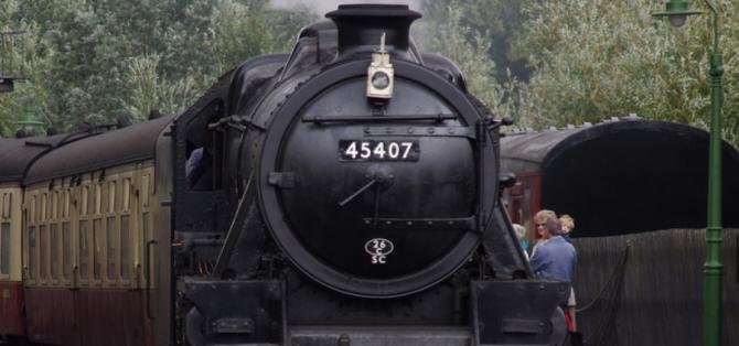 Heritage Steam Train pulls into Pickering Station, southern starting point for the North Yorkshire Moors Railway