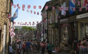 Haworth Main Street adorned with bunting during the annual 1940s Weekend