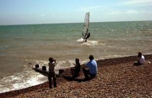 Watching the windsurfer at Pevensey Bay