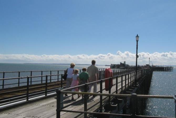 Family walking on Southend Pier