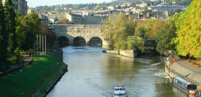 Pulteney Bridge across the River Avon at Bath