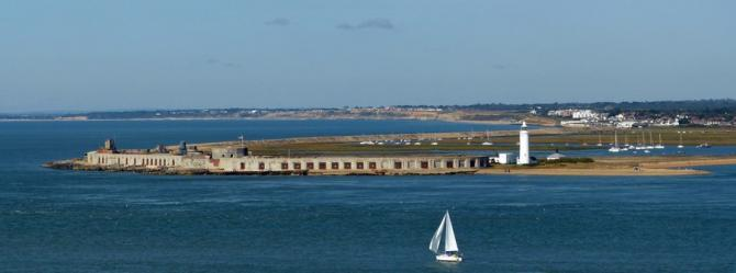 Henry VIII's Hurst Castle on the end of a shingle spit near Milford-on-Sea