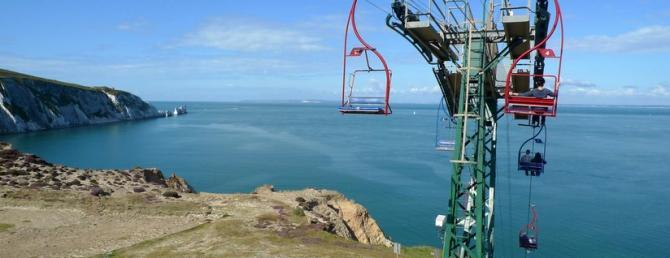 The iconic chairlift at Needles Park, Alum Bay