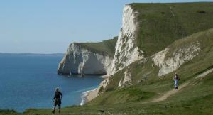 Walking along Dorset's Jurassic Coast near Durdle Door