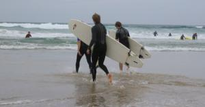 Surfing on Fistral Beach