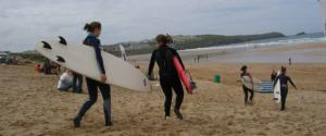 Surfing on Fistral Beach, Newquay