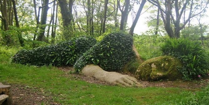 The famous Mud Maid - 'Sleeping Goddess' at The Lost Gardens of Heligan