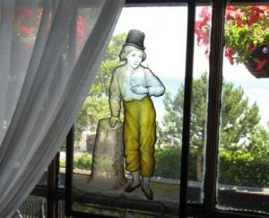 Stained glass at the Dickens House Museum in Broadstairs