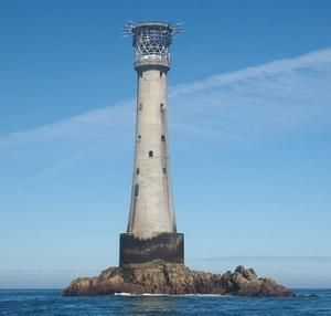 Bishop Rock Lighthouse 4 miles west of the Scilly Isles