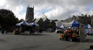 Bedford Square market stalls in Tavistock