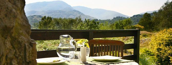 Spectacular views of the Langdale Pikes from Colwith Cottage's Patio