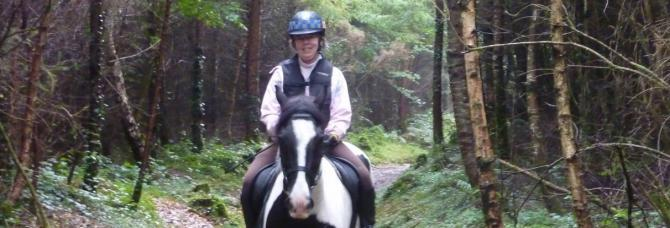 Riding in Canaston Woods near Longlands Farm