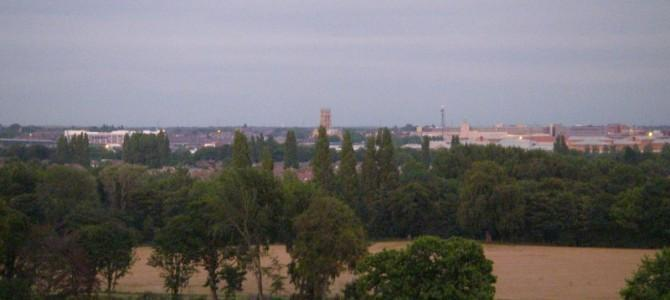 The Doncaster skyline set against the lakes at Cusworth Park