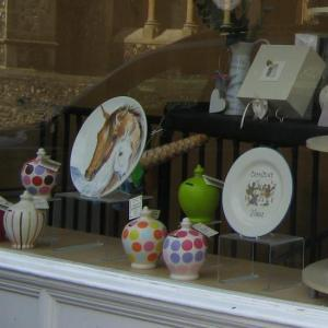 Antique and craft shops on the High Street with horse themed gifts widely available