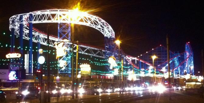 Blackpool Pleasure Beach illuminated