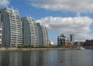 Luxury accommodation flanking the Waterfront at Salford Quays
