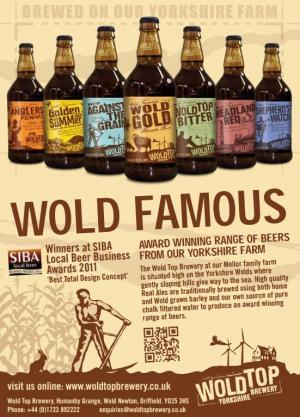 Award-winning Wold Famous beers from The Wold Top Brewery