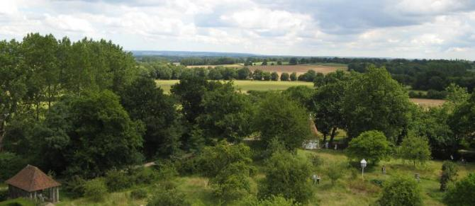 View from the top of the Elizabethan Tower at Sissinghurst Castle Gardens