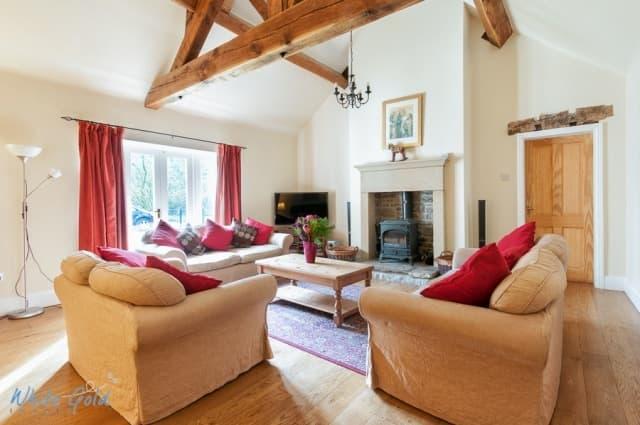 Huge lounge with vaulted ceiling and log burner - Riverside House