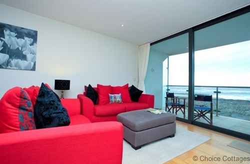 Snaptrip - Last minute cottages - Luxury Westward Ho! Apartment S73674 - Stunning views from the lounge