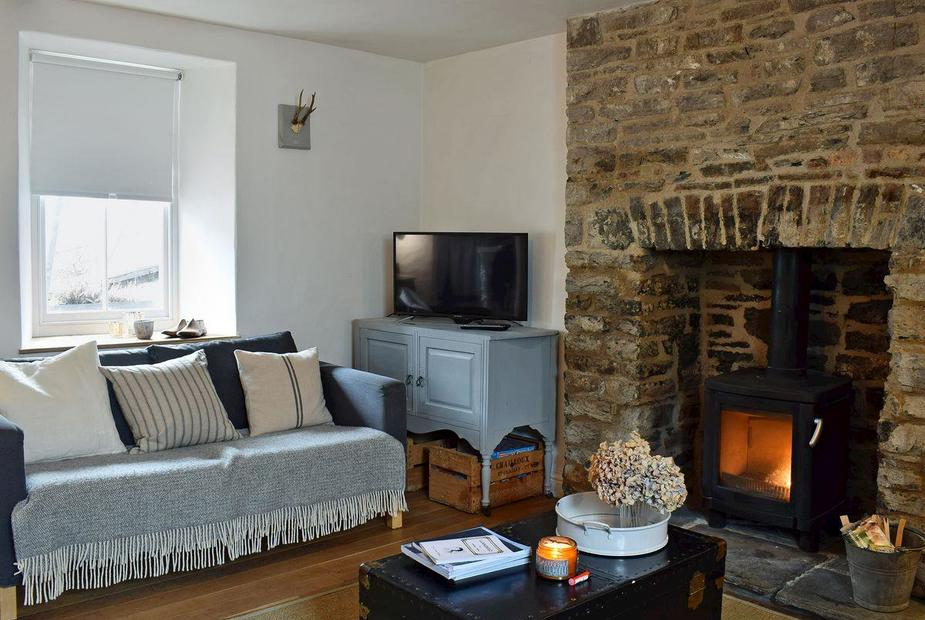 Quay Cottage Stylishly furnished living room with wood burner | Quay Cottage, Llandeilo
