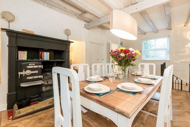 Bakehouse Cottage Dining Room with wood burning range