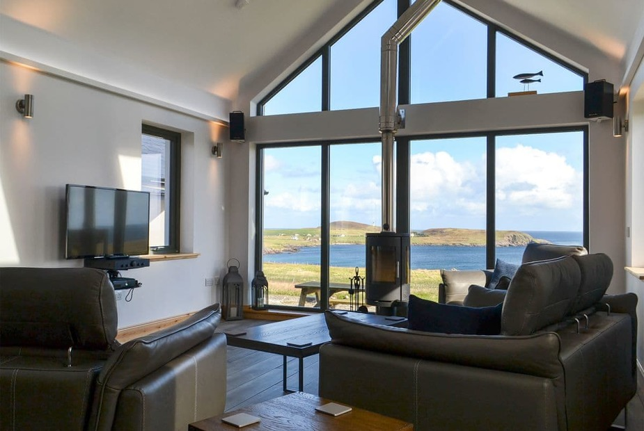 Stunning sea views from the large cathedral window | Healair, Aird, near Stornoway - Healair