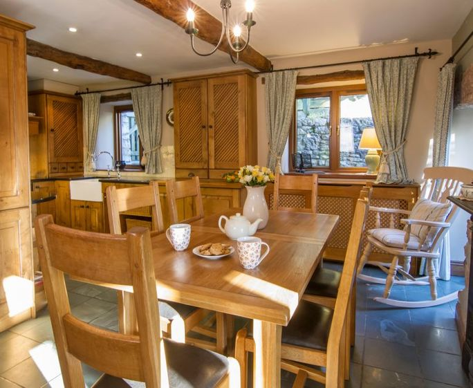 The Hayloft, near Cartmel Oak & Slate Kitchen Dining Room