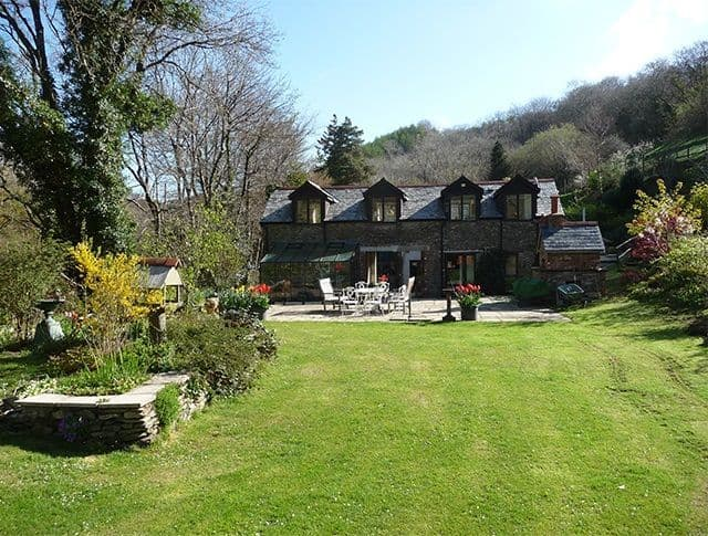 Meadow Cottage at Heddon Valley Mill rear garden of cottage and main patio
