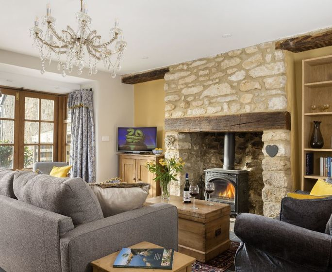 Weavers Cottage, Watledge, Nailsworth Ground floor: Sitting room with wood burner