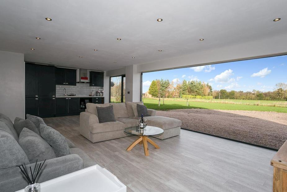 The Barn at Forest View Fully bi-folding doors open up to the stunning views | The Barn at Forest View, Melbourne, near Derby