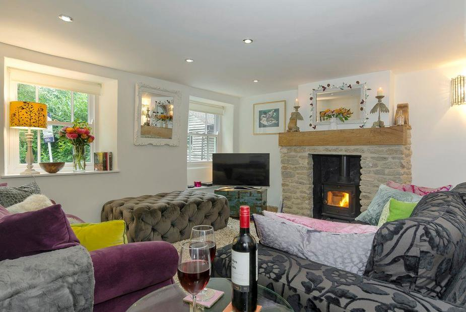 Rose Cottage Stylish living area with wood burner | Rose Cottage, Mere