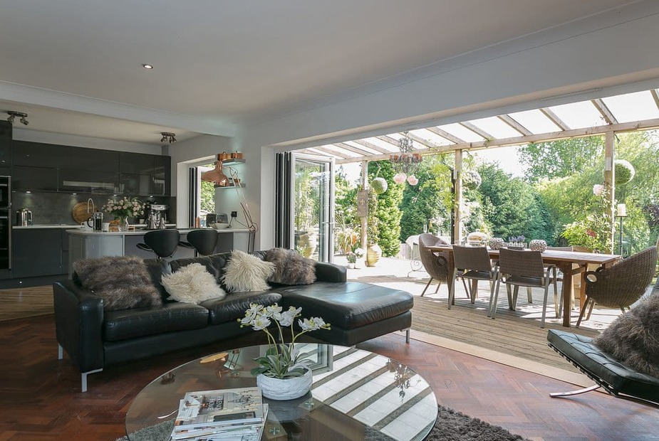Mill View Light and airy living space with folding doors leading to the garden | Mill View, Holmwood, near Dorking