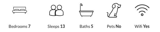 Property features: seven bedrooms, sleeps 13, five bathrooms, no pets, has wifi.