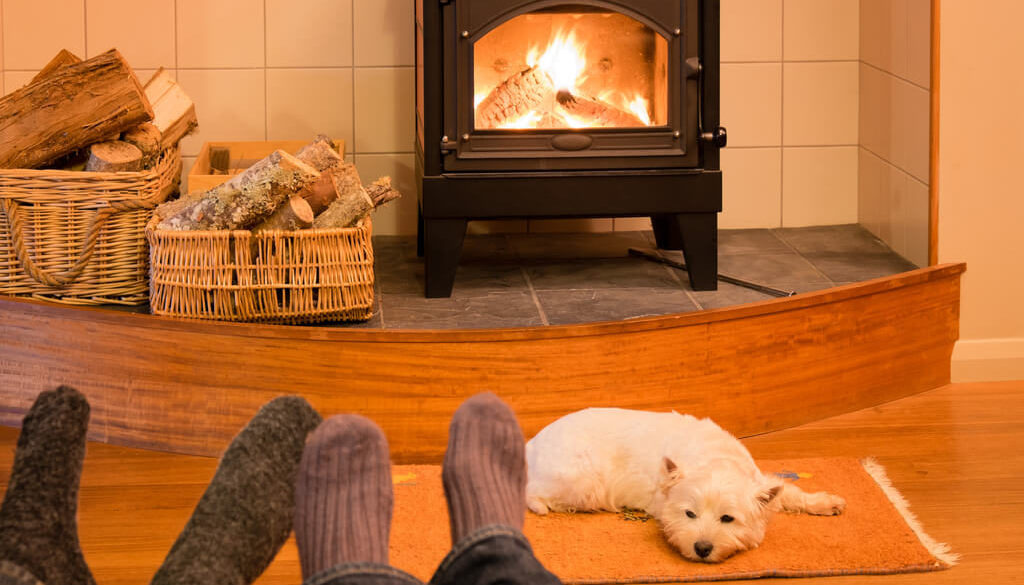 A couple with their dog by the fire in one of our last minute pet friendly cottages in Wales