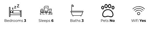 Property details: three bedrooms, sleeps six, three bathrooms, no pets, has wifi