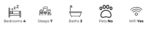 Property details: four bedrooms, sleeps seven, three bathrooms, no pets, has wifi