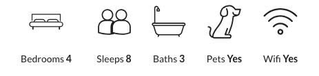 Four bedrooms, sleeps eight, three baths, pet-friendly, has wifi.