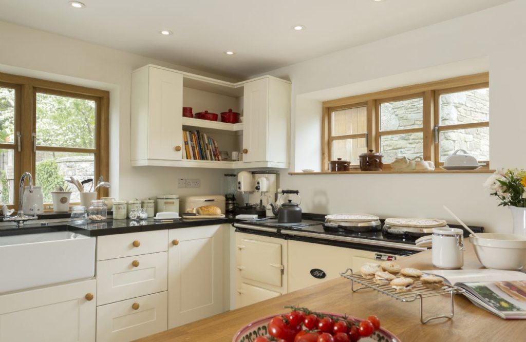A well equipped kitchen with an AGA.