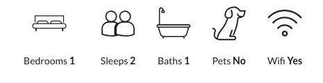Property details: one bedroom, sleeps two, one bathroom, no pets, has wifi