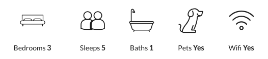Property details: sleeps three, five bedrooms, one bathroom, pet-friendly, wifi