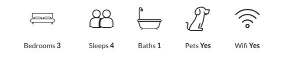 Property details: three bedrooms, sleeps four, one bathroom, pet-friendly, has wifi