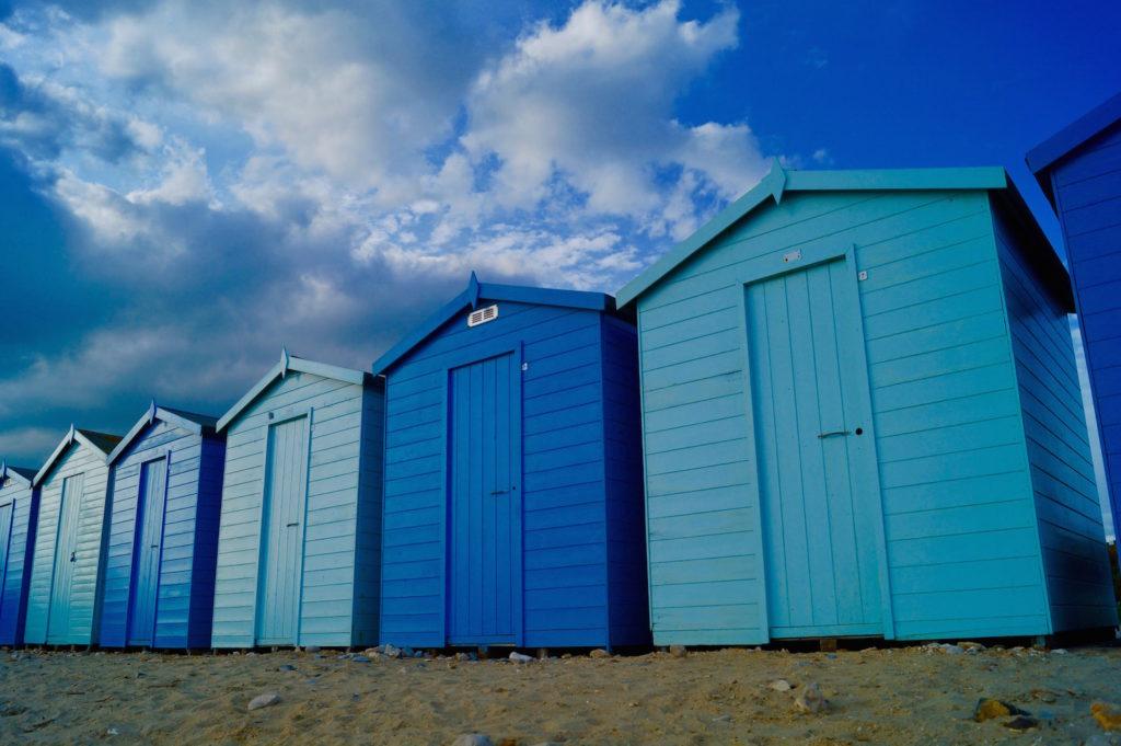 Blue beach huts at Charmouth