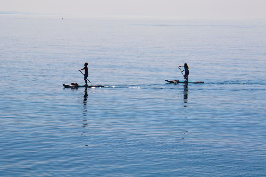 Paddle boarding in West Bay